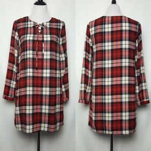 Everly Red Plaid Shift Dress or Tunic Top